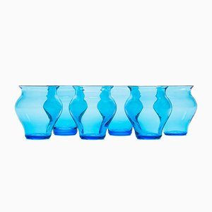 Verres Anfora Aquamarine par Stories de Italy, Set de 6