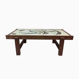 Tavolino da caffè vintage in ceramica e quercia di Juliette Belarti