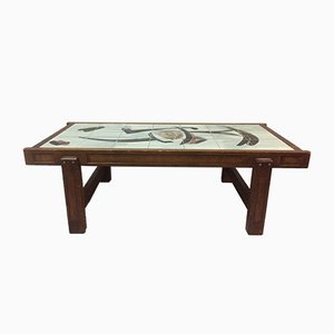 Vintage Ceramic & Oak Coffee Table by Juliette Belarti