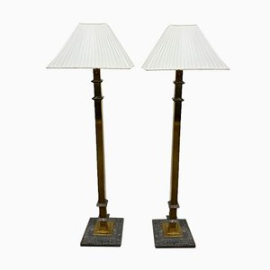 Brass and Marble Floor Lamps, 1970s, Set of 2