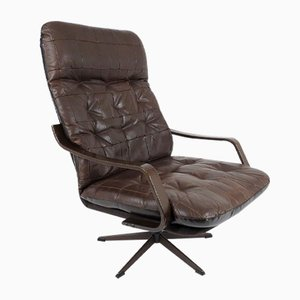 Scandinavian Wood & Leather Lounge Chair, 1960s