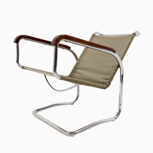 Bauhaus H 80 Chrome Lounge Chair by Jindřich Halabala for UP Závody, 1930s