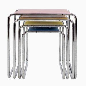 Bauhaus B9 Chrome Nesting Tables by Marcel Breuer, 1930s