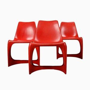 Stapelbare vintage Plastik Esszimmerstühle von Steen Ostergaard für Cado, 3er Set