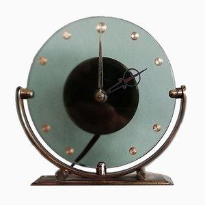 Orologio da tavolo vintage in vetro di Leendert Prins per NUFA, anni '30