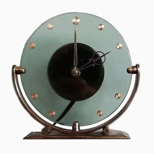 Vintage Glass Table Clock by Leendert Prins for NUFA, 1930s