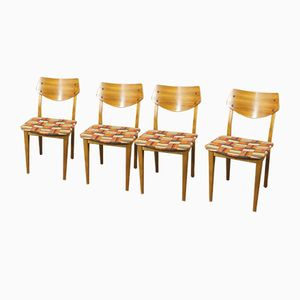 German Dining Chairs with Checkered Upholstery, 1960s, Set of 4
