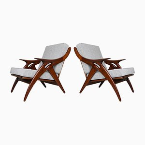 De Knoop Teak Lounge Chairs from De Ster Gelderland, Set of 2
