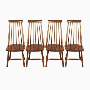 Niederländische Holzstab Stühle von Pastoe, 1960er, 4er Set