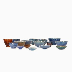Scodelle fatte a mano in ceramica, anni '70, set di 16