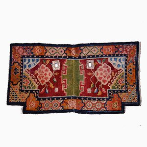 Tibetan Hand-Knotted Saddle Carpet with Lotus Flower and Sea Waves