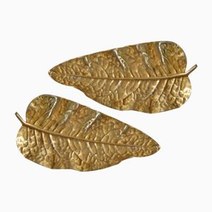 Mid-Century Italian Bronze Leaf Trays, Set of 2