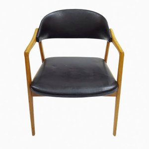 Scandinavian Beech & Black Leather Armchair, 1970s
