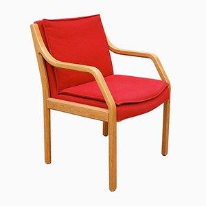 Vintage Armlehnstuhl mit rotem Bezug von Preben Fabricius und Jørgen Kastholm für Art Collections, 1970er