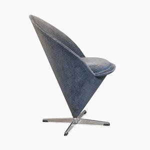 Vintage Grey Velvet Cone Chair by Verner Panton