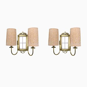Brass Wall Lights with Fabric Shades, 1930s, Set of 2
