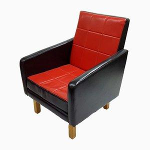 Butaca húngara de cuero sintético en rojo y negro, años 60