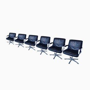 Programm 200 Leder Ess- & Konferenzstühle von Delta-Design für Wilkhahn,1960er, 6er Set