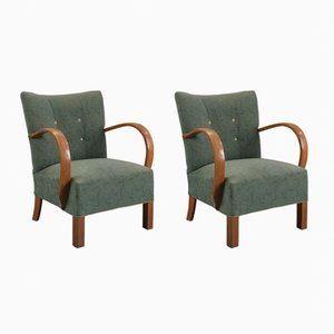 Mid-Century Danish Lounge Chairs in Green, Set of 2