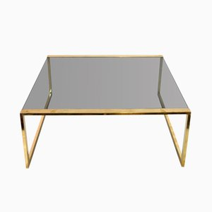 Italian Square Brass Coffee Table, 1970s
