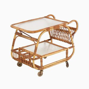 Vintage Bamboo Bar Trolley, 1930s