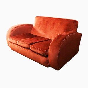 Mid-Century Brick Red Velvet 2-Seater Sofa