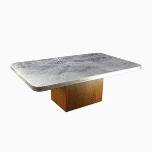 Tavolino da caffè vintage con ripiano in alluminio inciso