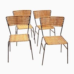 Chaise d'Appoint en Osier & Fer Forgé, 1960s, Set de 4