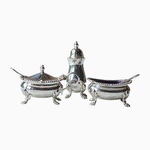 Englisches Menage-Set aus Silber, 1950er