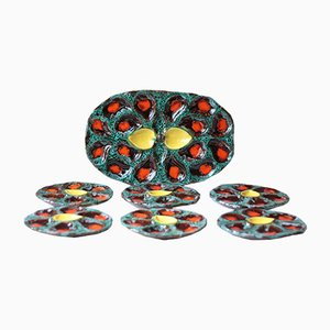 Oyster Plates and Platter Set by Vallauris, 1970s