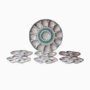 Antique Porcelain Oyster Plates & Platter from Sarreguemines