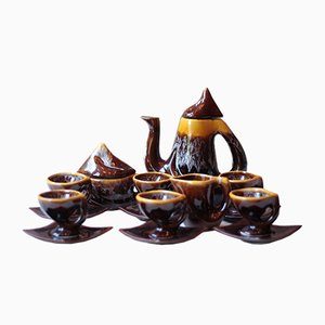 Mid-Century Vallauris Ceramic Coffee Set, 1970s