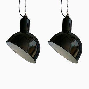 Lámparas belgas industriales vintage de S.E.M. Reluma. Juego de 2