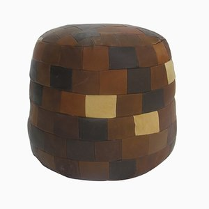 Vintage Leather Patchwork Pouf or Side Table