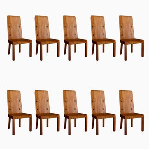 Lovö Dining Chairs by Axel Einar Hjorth for Nordiska Kompaniet, 1930s, Set of 10