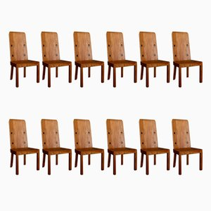 Lovö Dining Chairs by Axel Einar Hjorth for Nordiska Kompaniet, 1930s, Set of 12