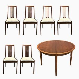 Tavolo allungabile rotondo con sedie di Lübke, anni '60, set di 7