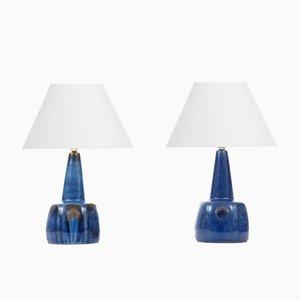 Lámparas de mesa escandinavas de cerámica de Maria Philippi para Søholm, años 60. Juego de 2