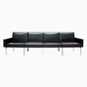 Black Leather & Chrome Modular Sofa, 1970s