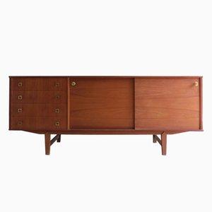 Teak Sideboard with Golden Brass Handles, 1950s