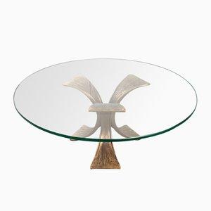 Mesa de centro vintage redonda de bronce y vidrio, años 70