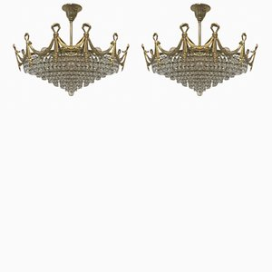 Vintage Italian Crystal Flush Mount Chandeliers, Set of 2