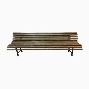 Antique Children's Wood and Metal Garden Bench