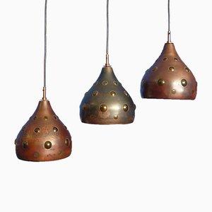 Brutalistische Kupfer Lampen von Nanny Still für Raak, 1960er, 3er Set