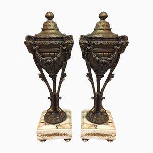 Antique Bronze & Marble Mantelpieces, Set of 2