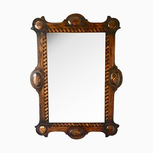 Antique Arts & Crafts Wooden Wall Mirror