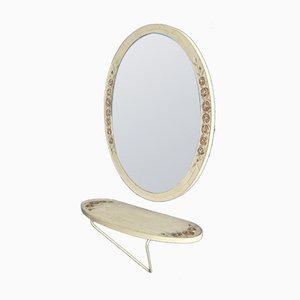 Espejo de pared italiano con consola, años 60