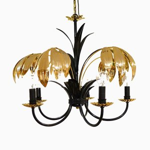 Five-Armed Chandelier with Black and Gold Metal and Palm Leaves, 1970s