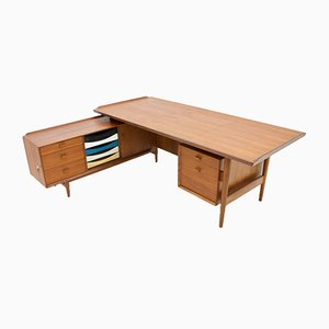 Teak Writing Desk with Sideboard by Arne Vodder for Sibast, 1960s