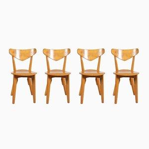 Birkenholz Esszimmerstühle von Groep & für Goed Wonen, 1940er, 4er Set